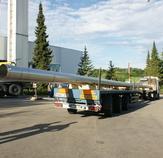 Schwertransport mi den beiden 30m langen Abgasleitungen, bereit für den Einbau. Fischerwerke Tumlingen
