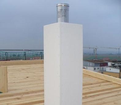 Leichtbauschornstein mit innenliegender Abgasleitung als Luft-Abgas-Systemanlage, Ort: Holzgerlingen