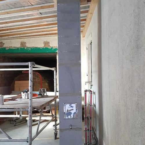 Leichtbauschornstein für den Anschluß eines Stückholzkessels in einer Schreinerei in FN-Fischbach