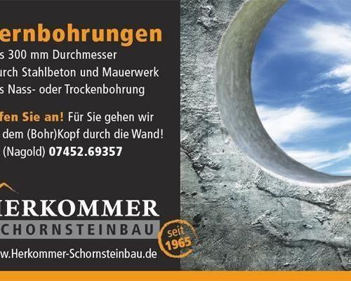 Zeitungsanzeige, Kernlochbohrungen von Herkommer Schornsteinbau