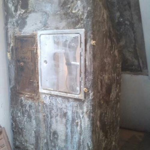 Versotterter Schornstein bedingt durch einen zu groß dimensionierten Schornsteins in Verbindung mit der daran angeschlossenen Ölheizung